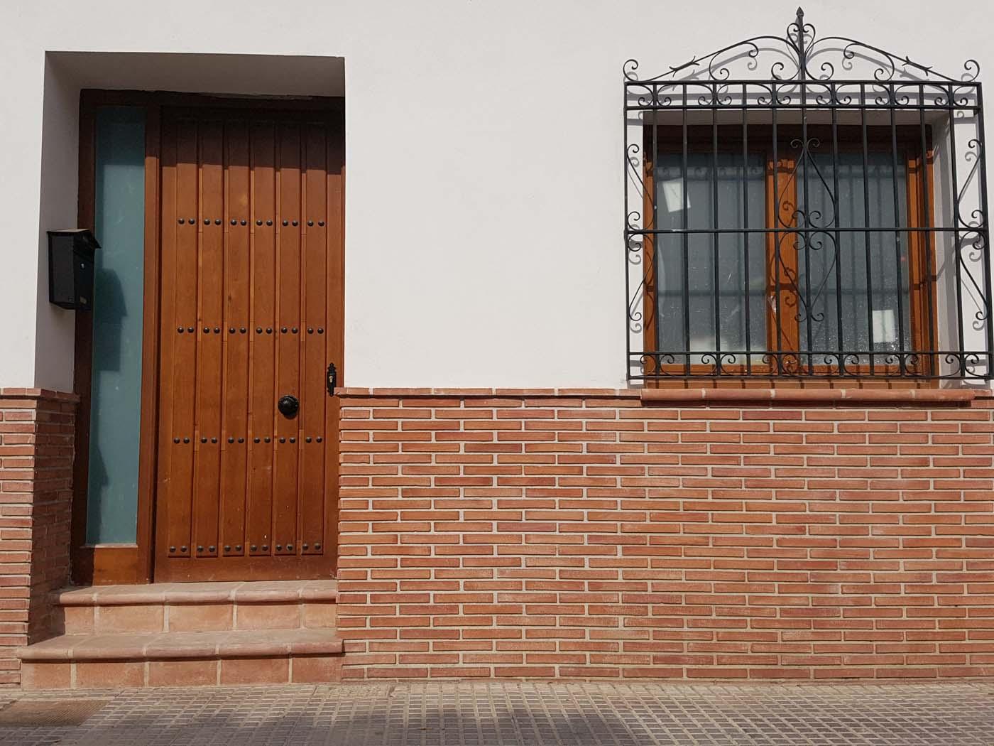 Door with tile brick
